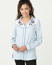 Brave Soul Long Sleeve Shirt With Bird Print Blue