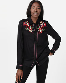 Brave Soul Long Sleeve Shirt With Embroidery Black