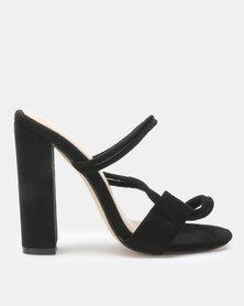 Public Desire Equate Heels Black Faux Suede