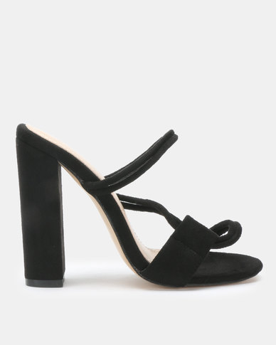 Public Desire Equate Heels Black Faux Suede