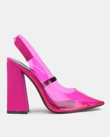 Public Desire Lure Heels Hot Pink Lycra & Perspex