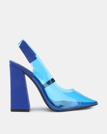 Public Desire Lure Heels Blue Lycra & Perspex