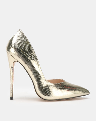 Public Desire Sachi Stiletto Heels Gold Snake PU