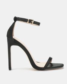Public Desire Vino Square Toe Heels Black Satin