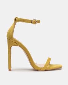 Public Desire Vino Square Toe Heels Mustard Yellow Faux Suede
