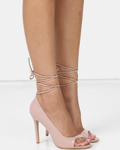 Public Desire Bea Heels Blush Nude Patent