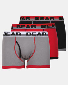 Bear 3 Pack Red Contrast Coverseam Bodyshorts