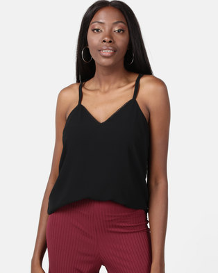 New Look Button Lace Back Cami Black