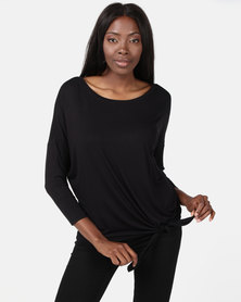New Look Tie Side 3/4 Sleeve Oversized Top Black