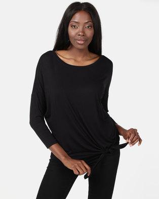 New Look Tie Side 3/4 Sleeve Oversized Top Black