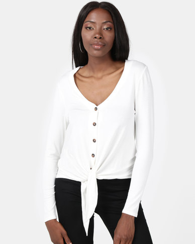 New Look V Neck Button Tie Front Top Cream