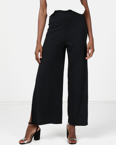 New Look Ribbed Flared Split Side Trousers Black