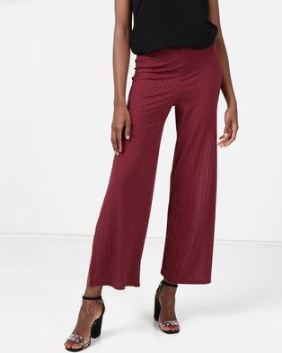 New Look Ribbed Flared Split Side Trousers Dark Burgundy