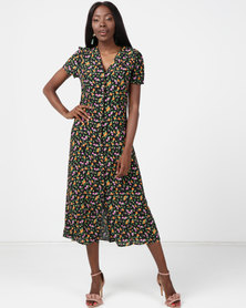 New Look Bright Floral Button Through Midi Tea Dress Black