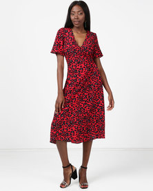 New Look Animal Print Midi Wrap Dress Red