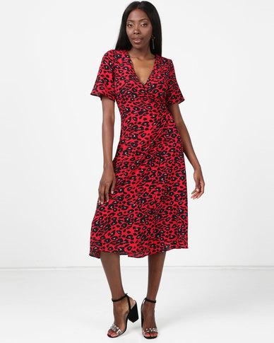 New Look Animal Print Midi Wrap Dress Red