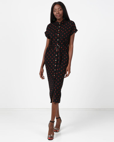 New Look Spot Print Twill Midi Shirt Dress Black