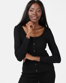 New Look Ribbed Button Front Long Sleeve Top Black