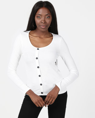 New Look Ribbed Button Front Long Sleeve Top Off White