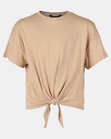New Look Tie Front MTJ Tee Camel
