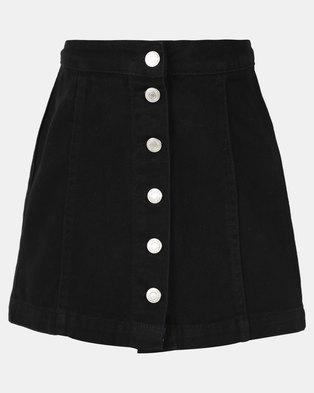 New Look Teens Button Through Denim Skirt Black