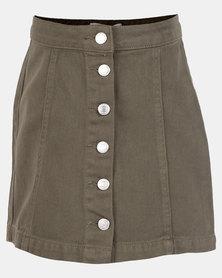 New Look Col Denim Button Through Skirt Dark Khaki