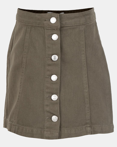 New Look Col Denim Button Through Skirt Dark Khaki