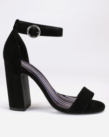 New Look Suedette Stripe Lined Block Heels Black
