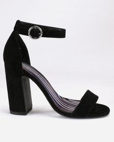 New Look Suedette Stripe Lined Block Heels Black