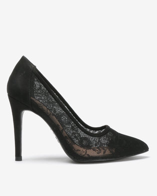 New Look Lace Stiletto Heel Pointed Courts Black