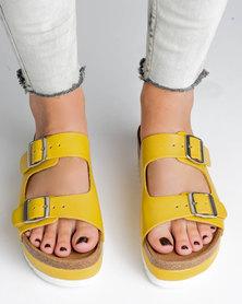 Jeffrey Campbell Aurelia Mustard Leather Sandals Yellow