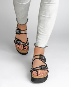 Jeffrey Campbell Fatu Black Sandals