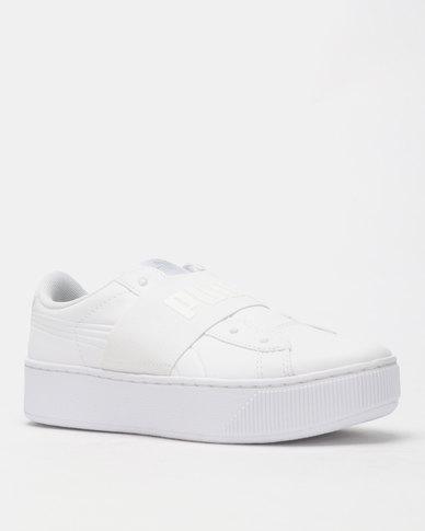 pas mal a4605 8f19c Puma Sportstyle Core Vikky Platform Elastic Sneakers White