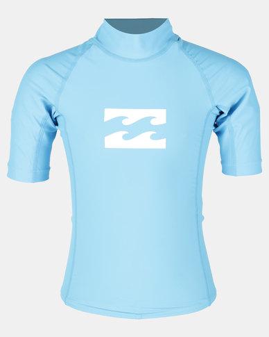 Billabong Boys All Day Wave Short Sleeve Rashguard New Blue