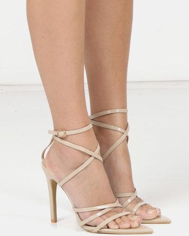London Hub Fashion Strappy Heeled Sandals Beige