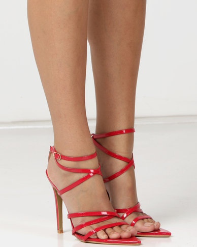 704bca39928 London Hub Fashion Strappy Heeled Sandals Red