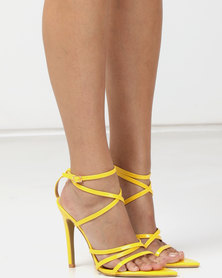 London Hub Fashion Strappy Heeled Sandals Yellow