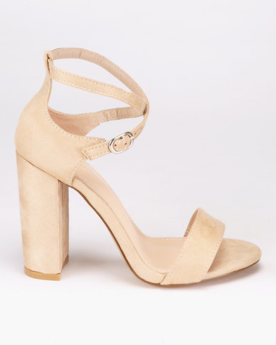 Hub Block Beige London Fashion Heel Sandals W29IEHDY