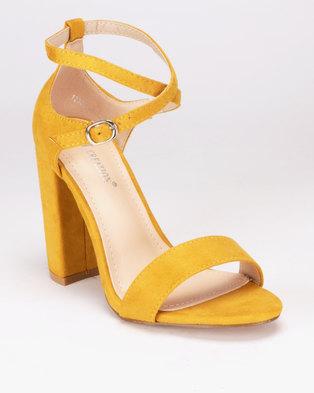 68fe5da17535 London Hub Fashion Block Heel Sandals Yellow