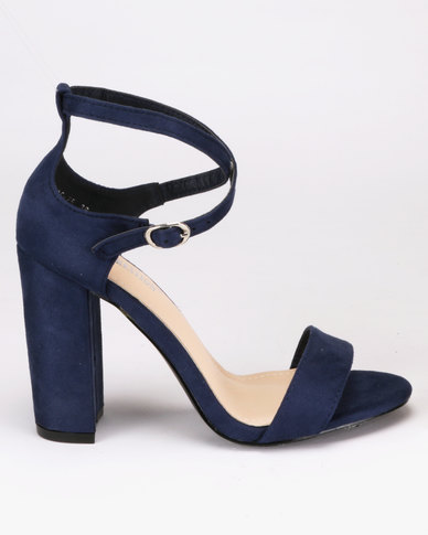 c0c442ce753 London Hub Fashion Block Heel Sandals Navy