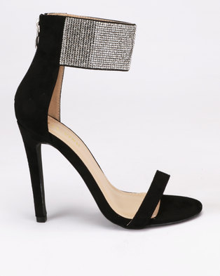 4d2649beb6ec London Hub Fashion Diamante Cuff Stiletto Sandals Black