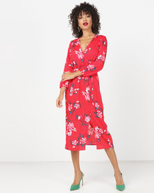 London Hub Fashion Floral Wrap Midi Dress Red