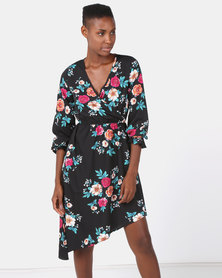 London Hub Fashion Floral Cold Shoulder Asymmetric Wrap Dress Black