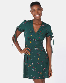 London Hub Fashion Floral Tie Sleeve Tea Dress Green