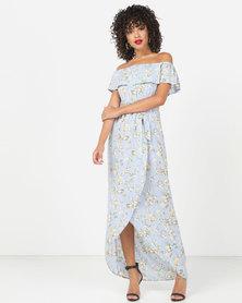 London Hub Fashion Floral Bardot Maxi Dress Blue Green