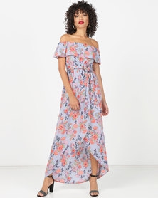 London Hub Fashion Floral Bardot Maxi Dress Blue Pink