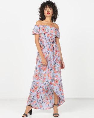 e0503e0ba26 London Hub Fashion Floral Bardot Maxi Dress Blue Pink