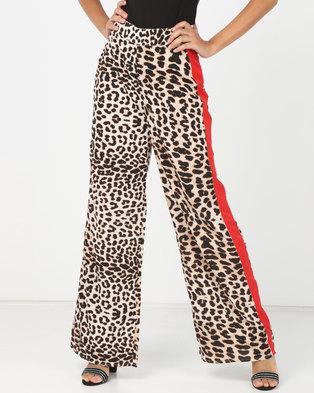 87cd66dab493 London Hub Fashion Leopard Print Sports Stripe Wide Leg Pants Multi