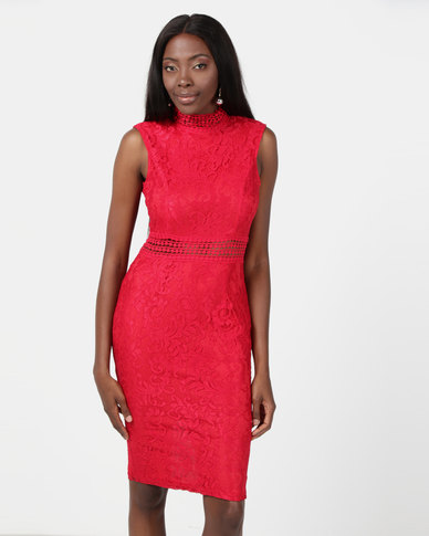 AX Paris Lace Midi Dress Red