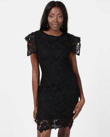 AX Paris Crochet Detail Midi Dress Black